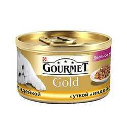 Gourmet Gold duck with turkey   Консервы Гурме Голд для кошек утка с индюшкой в подливке (24 шт х 85 гр)