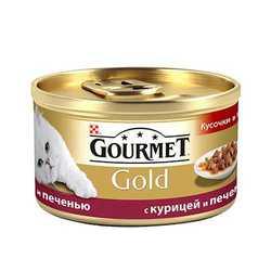 Gourmet Gold chicken with liver | Консервы Гурме Голд для кошек курица с печенью в подливке (24 шт х 85 гр)