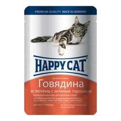 Хэппи Кет паучи для кошек говядиной и печенью (0,1 кг) 22 шт