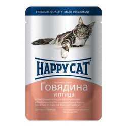 Хэппи Кет паучи для кошек с говядиной и птицей (0,1 кг) 22 шт