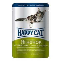 Хэппи Кет паучи для кошек с ягненком и телятиной (0,1 кг) 22 шт