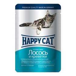 Хэппи Кет паучи для кошек с лососем и креветками (0,1 кг) 22 шт