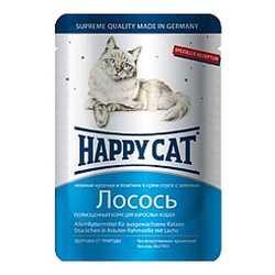 Хэппи Кет паучи для кошек с лососем (0,1 кг) 22 шт