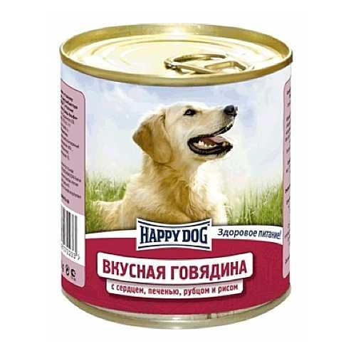 Хэппи Дог консервы для собак с говядиной, сердцем, рубцом и рисом (0,75 кг) 12 шт