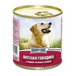 Хэппи Дог консервы для собак с говядиной, сердцем и рубцом (0,75 кг) 12 шт