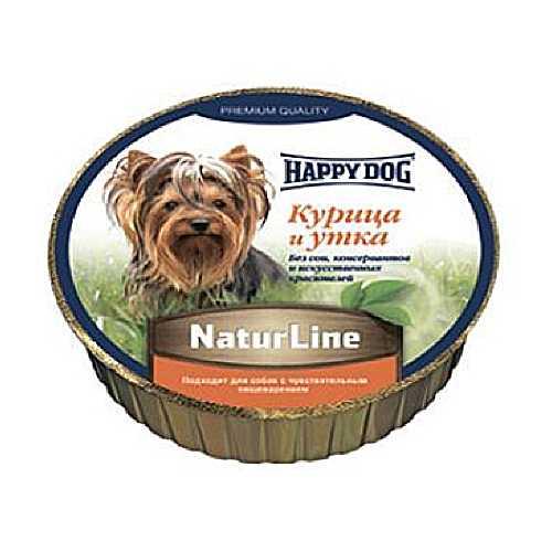 Хэппи Дог консервы для собак с курицей и уткой (0,125 кг) 16 шт