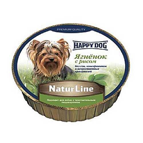 Хэппи Дог консервы для собак с ягненком и рисом (0,125 кг) 16 шт