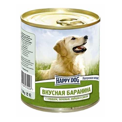 Хэппи Дог консервы для собак с бараниной, сердцем, рубцом и рисом (0,75 кг) 12 шт