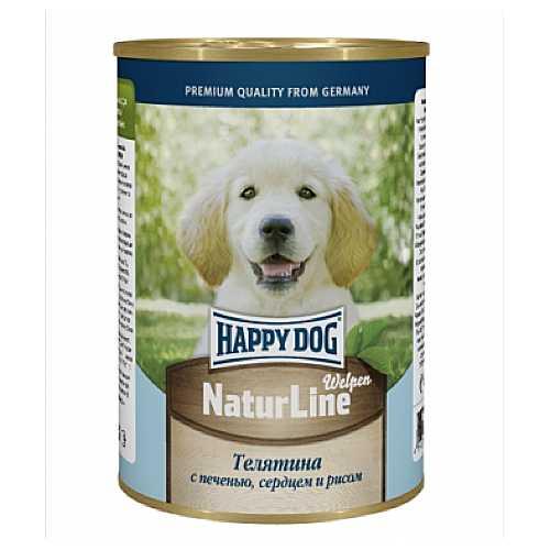 Хэппи Дог консервы для щенков с телятиной, сердцем и рисом (0,4 кг) 20 шт