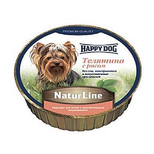 Хэппи Дог консервы для собак с телятиной и рисом (0,125 кг) 16 шт