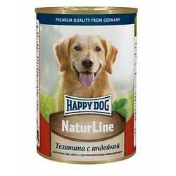 Хэппи Дог консервы для собак с телятиной и индейкой (0,4 кг) 20 шт