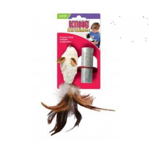 """Kong игрушка для кошек """"Мышь полевка с перьями"""" плюш с тубом кошачьей мяты"""
