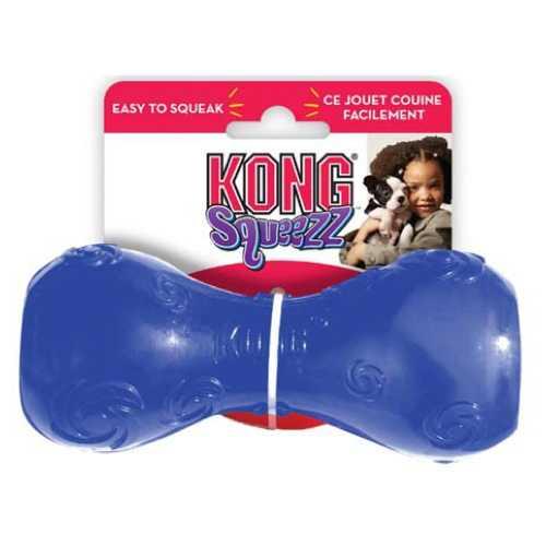 Kong игрушка для собак Сквиз Гантеля малая резиновая с пищалкой