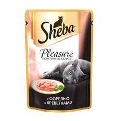 Sheba Pleasure паучи для кошек форель с креветками 85 гр х 24 шт