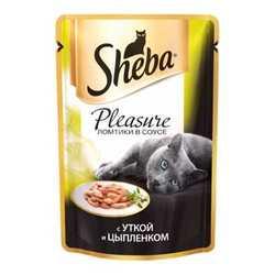 Sheba Pleasure паучи для кошек утка с курицей 85 гр х 24 шт