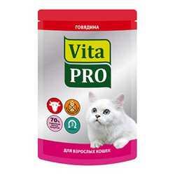 Vita Pro паучи для кошек с говядиной 100 гр х 12 шт