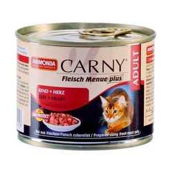 Animonda Carny консервы для кошек с говядиной и сердцем (0,20 кг) 6 шт