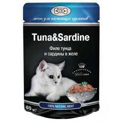 Gina паучи для кошек тунец/сардины в соусе (0,085 кг) 24 шт